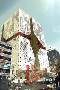 Red crescent façade design